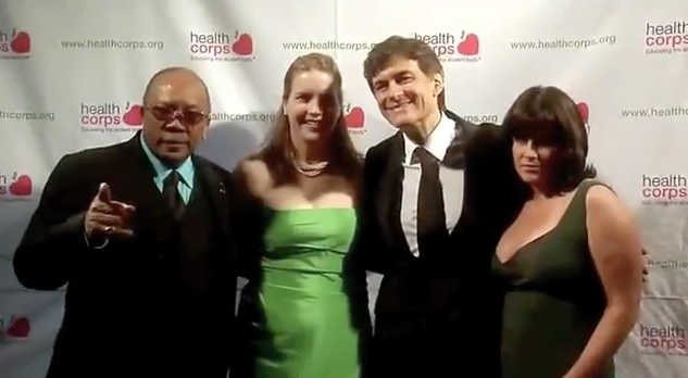 Quincy Jones, Dr. Oz, Lisa Oz at the HealthCorps Green Garden Gala