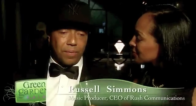 Teresa Kay-Aba Kennedy interviewing Russell Simmons at Dr. Oz's HealthCorps Green Garden Gala