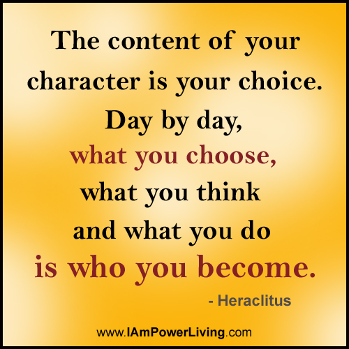 Znalezione obrazy dla zapytania the content of your character is your choice