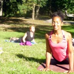 Terri Kennedy teaching yoga in Central Park