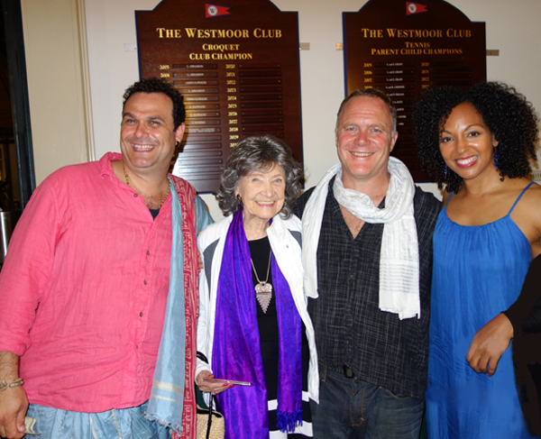 Tao Porchon-Lynch, Teresa Kay-Aba Kennedy with John de Kadt and Gaura Vani of Hanumen