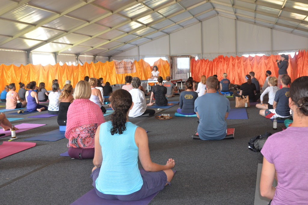 Tao Porchon-Lynch teaching at the Nantucket Yoga Festival