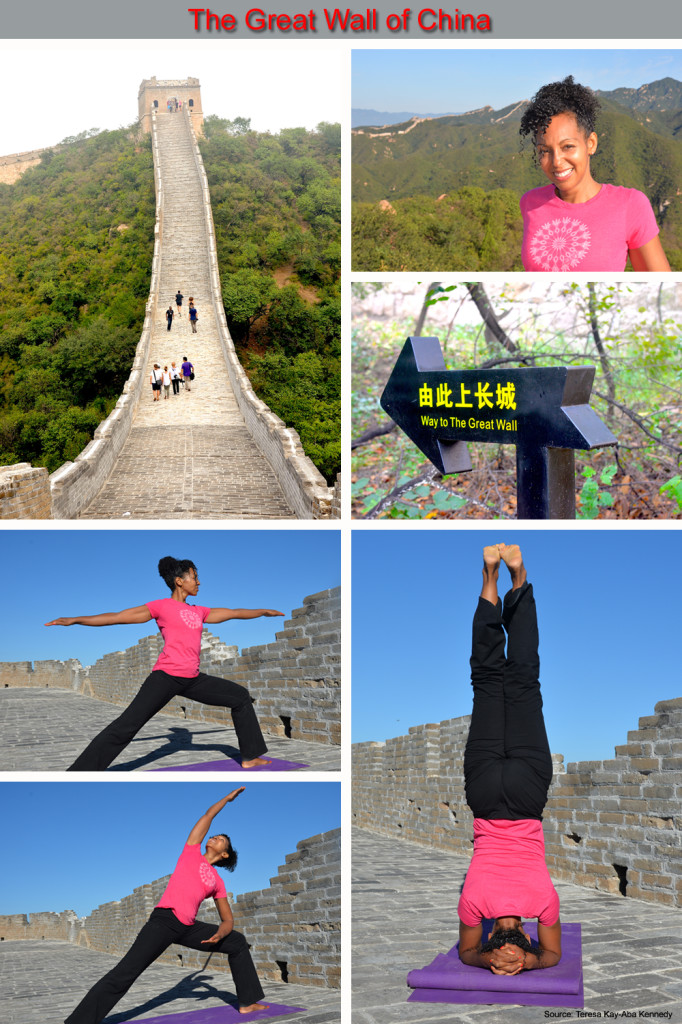 Teresa Kay-Aba Kennedy Teaching Yoga on The Great Wall of China