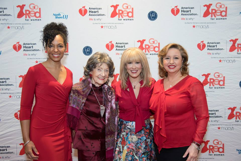 Teresa Kay-Aba Kennedy, 96-year-old Yoga Master Tao Porchon-Lynch, Dr. Suzanne Steinbaum, Agapi Stassinopoulos at the 2015 American Heart Association Go Red Luncheon at the NY Hilton Midtown - March 3, 2015
