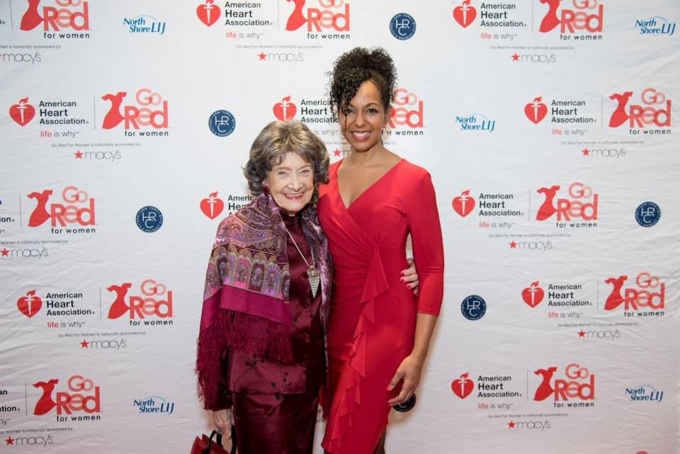 96-year-old Yoga Master Tao Porchon-Lynch and Teresa Kay-Aba Kennedy at the 2015 American Heart Association Go Red Luncheon at the NY Hilton Midtown - March 3, 2015