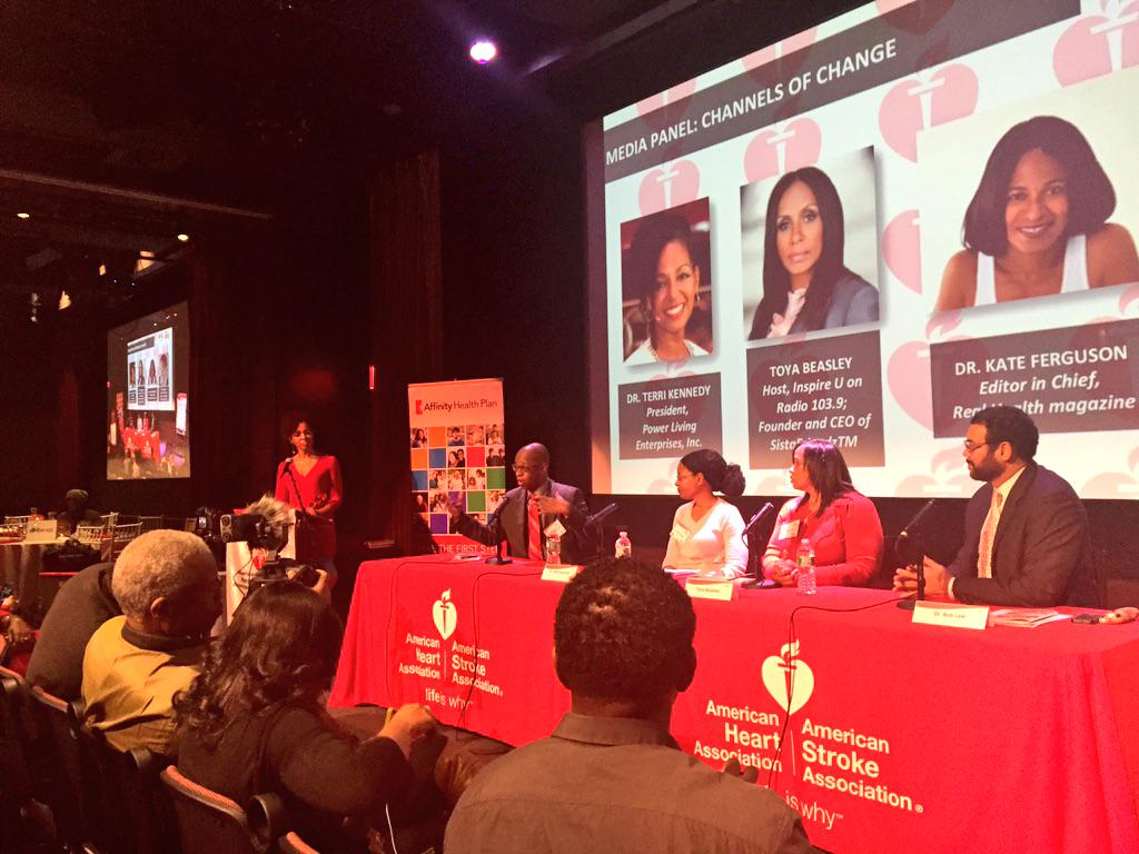 Teresa Kay-Aba Kennedy moderating the Media Panel for the American Heart Association Harlem Go Red Event - December 2014