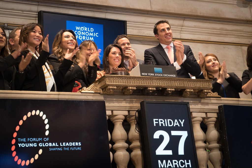 Young Global Leaders at Opening Bell Ceremony of New York Stock Exchange - March 27, 2015