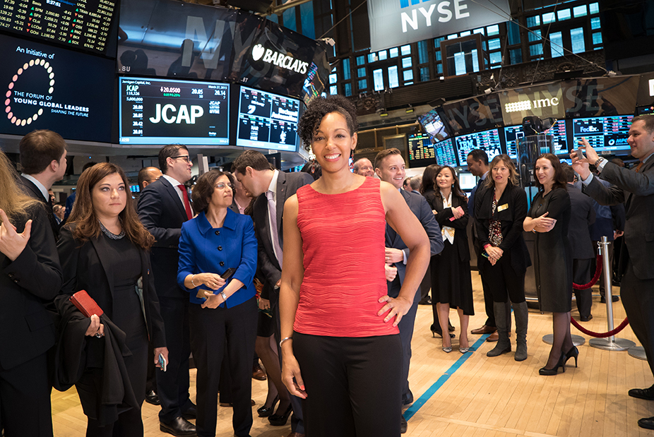 Teresa Kay-Aba Kennedy with fellow Young Global Leaders and World Economic Forum Members at Opening Bell Ceremony of New York Stock Exchange - March 27, 2015
