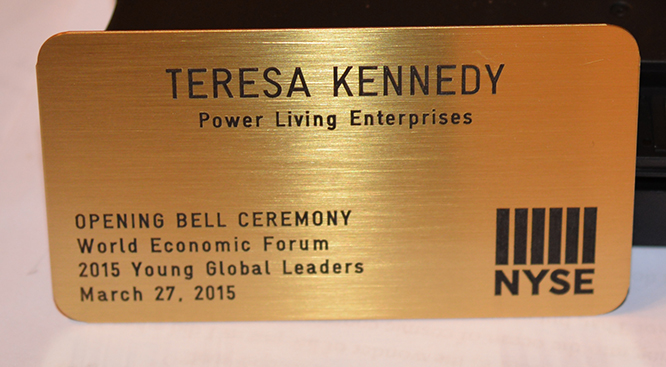 Teresa Kay-Aba Kennedy's badge for Opening Bell Ceremony of New York Stock Exchange - March 27, 2015