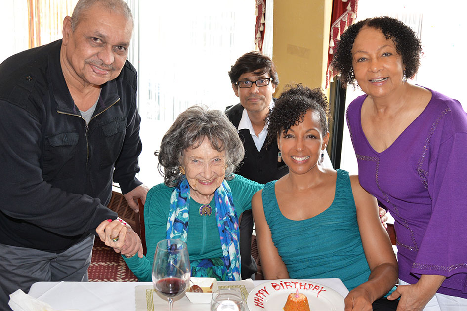 Teresa Kay-Aba Kennedy with Janie Sykes-Kennedy and 96-year-old Yoga Master Tao Porchon-Lynch - May 16, 2015