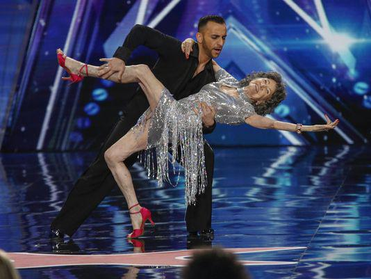 96-year-old Tao Porchon-Lynch dancing on America's Got Talent with Vard Margaryan airing June 9, 2015