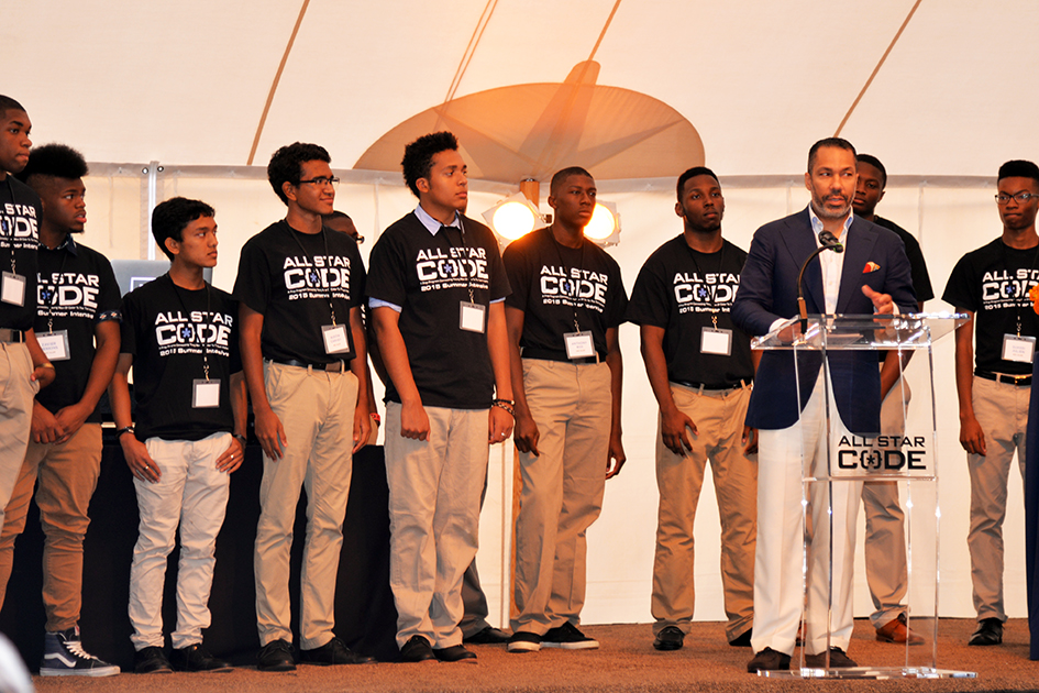 Valentino D. Carlotti and students at the 2nd Annual All Star Code Summer Benefit in East Hampton, July 25, 2015