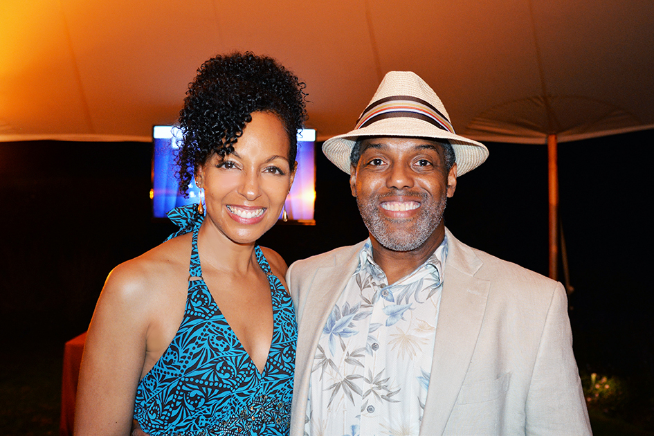 Teresa Kay-Aba Kennedy and Willard Alonzo Stanback at the 2nd Annual All Star Code Summer Benefit in East Hampton, July 25, 2015