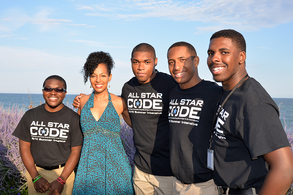 Teresa Kay-Aba Kennedy with young men from All Star Code at its Summer Benefit in East Hampton, July 25, 2015