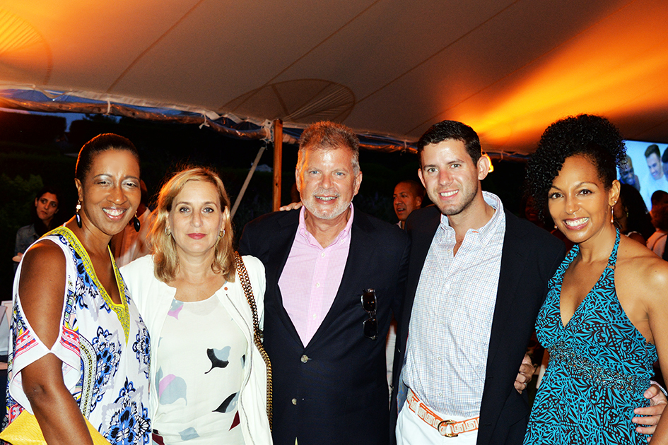 Sonia Banks, Cohen family and Teresa Kay-Aba Kennedy at the 2nd Annual All Star Code Summer Benefit in East Hampton, July 25, 2015