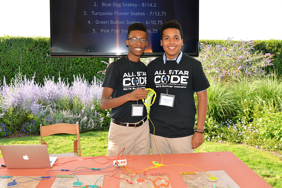 Young men at the Second Annual All Star Code Summer Benefit in East Hampton, July 25, 2015