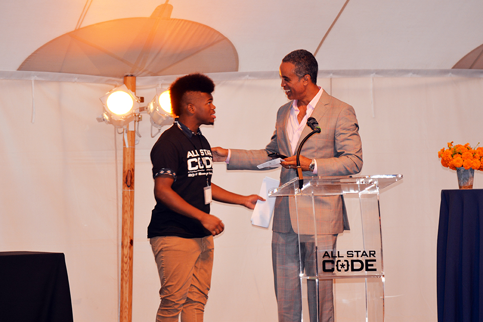 Maurice DuBois and student at the 2nd Annual All Star Code Summer Benefit in East Hampton, July 25, 2015