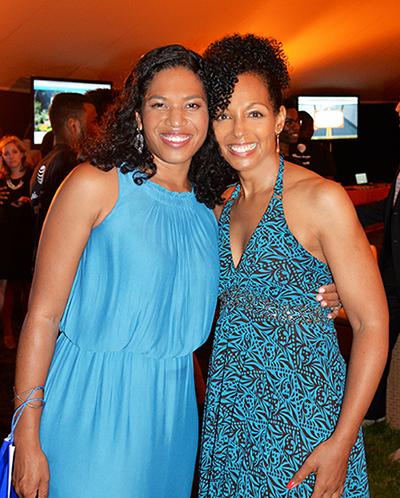 Christina Lewis Halpern and Teresa Kay-Aba Kennedy at the 2nd Annual All Star Code Summer Benefit in East Hampton, July 25, 2015