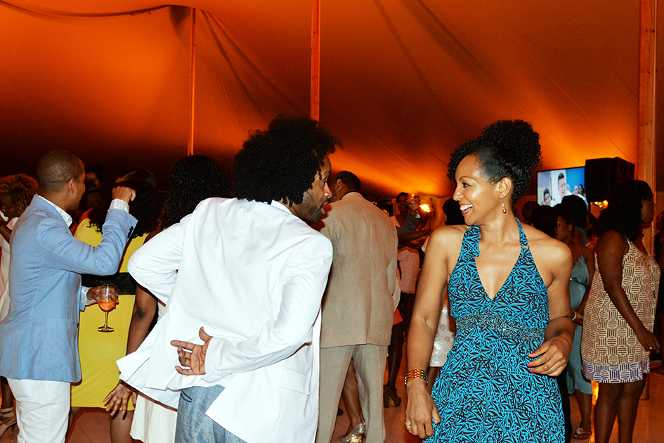 Teresa Kay-Aba Kennedy and Kyle Donovan dancing at the 2nd Annual All Star Code Benefit in East Hampton, July 25, 2015