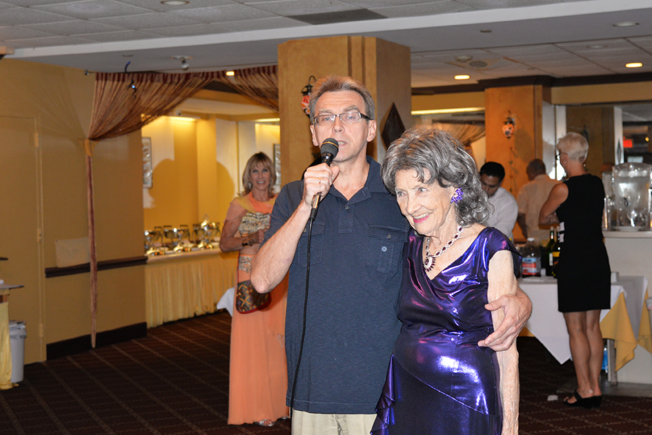 Tao Porchon-Lynch and her Fred Astaire dance partner at her 97th Birthday Party, August 9, 2015