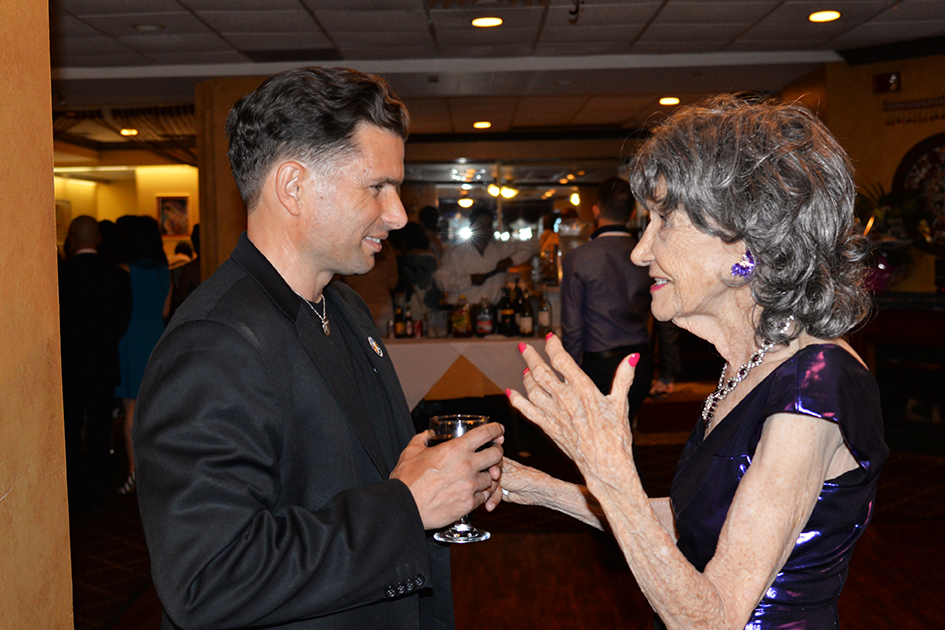 John Mirrione and Tao Porchon-Lynch at Tao's 97th Birthday Party, August 9, 2015