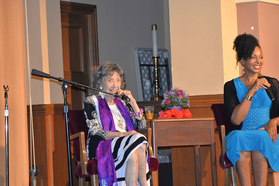 "97-year-old yoga master Tao Porchon-Lynch and empowerment expert Teresa Kay-Aba Kennedy in ""Conversation with a Master"" in Kansas City"