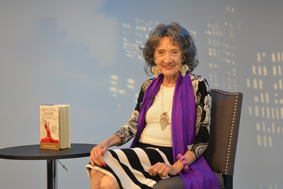 97-year-old yoga master Tao Porchon-Lynch at Fox 4 News in Kansas City