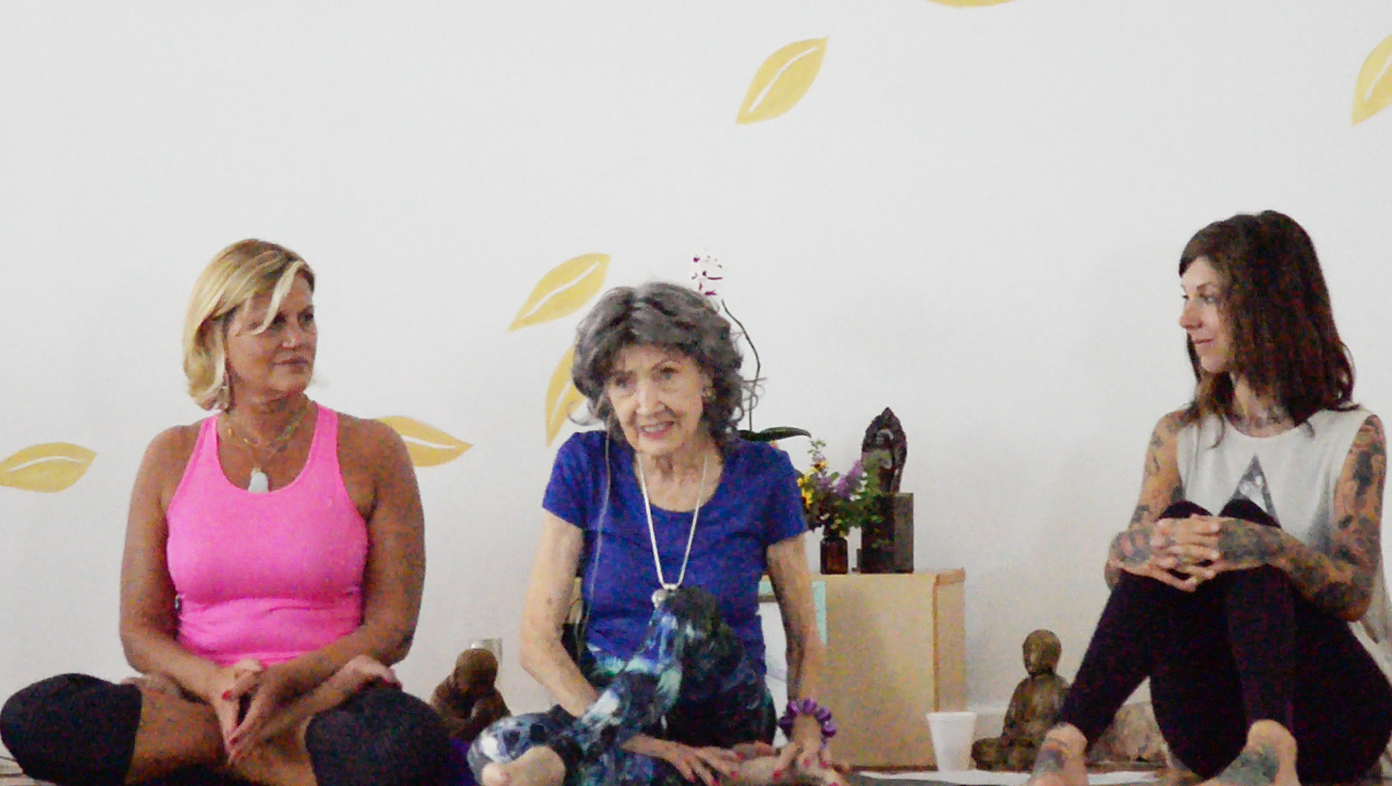 97-year-old yoga master Tao Porchon-Lynch teaching at Mark Blanchard's Yoga Kansas City