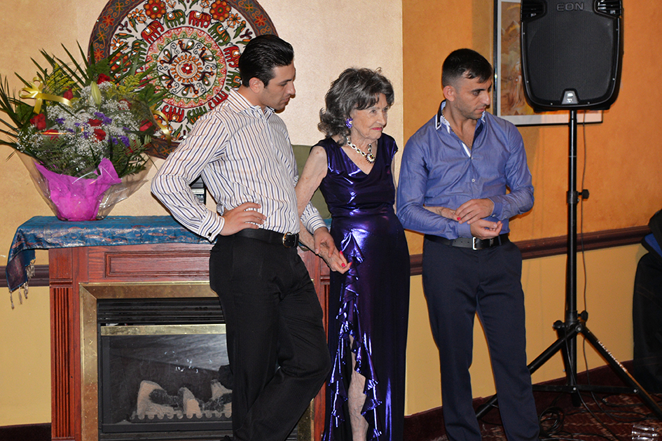 Hayk Balasanyan, Tao Porchon-Lynch and Vard Margaryan at Tao's 97th Birthday Party, August 9, 2015