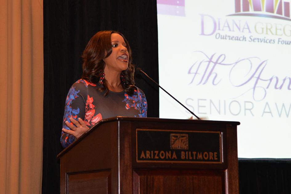 Susan Casper as emcee of 4th Annual Senior Awards in Phoenix, Arizona - September 25, 2015