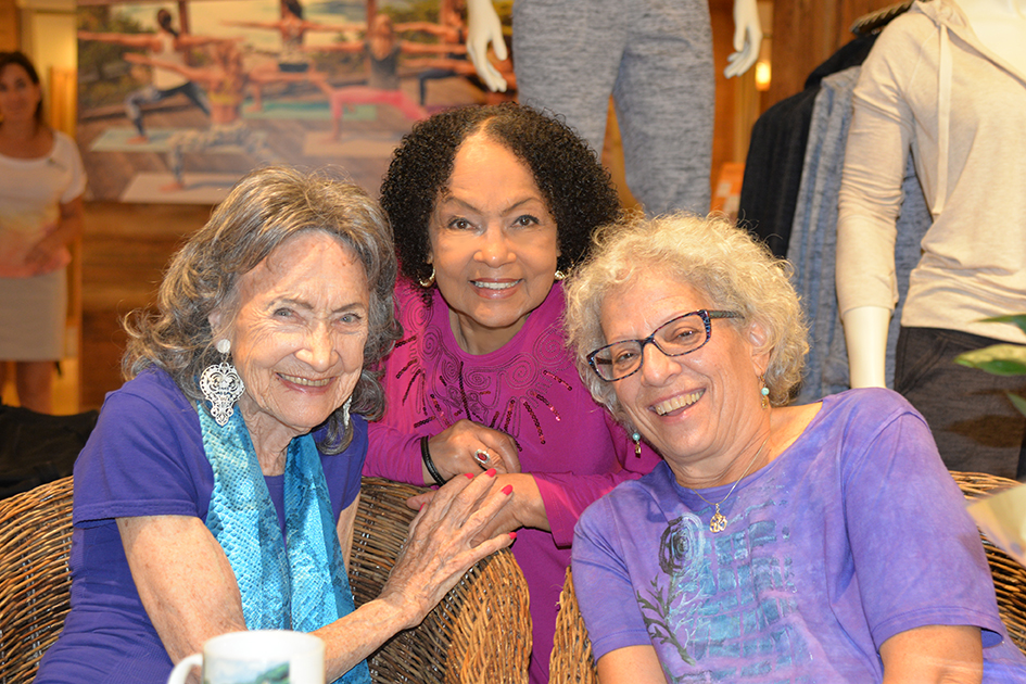 97-year-old yoga master Tao Porchon-Lynch, Janie Sykes-Kennedy and Joyce Pines at Dancing Light book launch event at Athleta store in Scarsdale, September 17, 2015