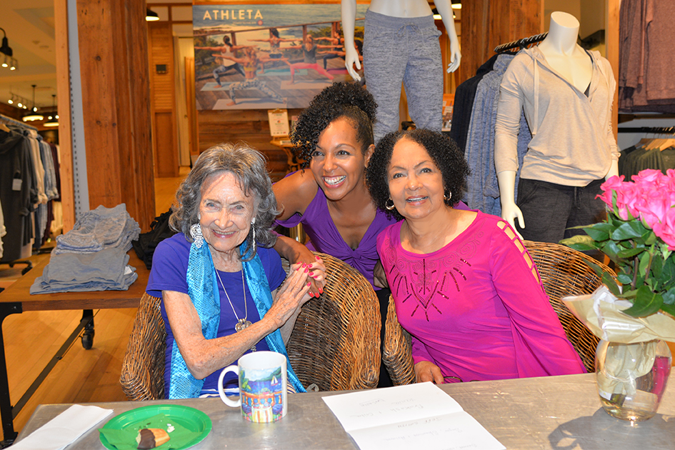 97-year-old yoga master Tao Porchon-Lynch, Janie Sykes-Kennedy and Teresa Kay-Aba Kennedy at Dancing Light book launch event at Athleta store in Scarsdale, September 17, 2015