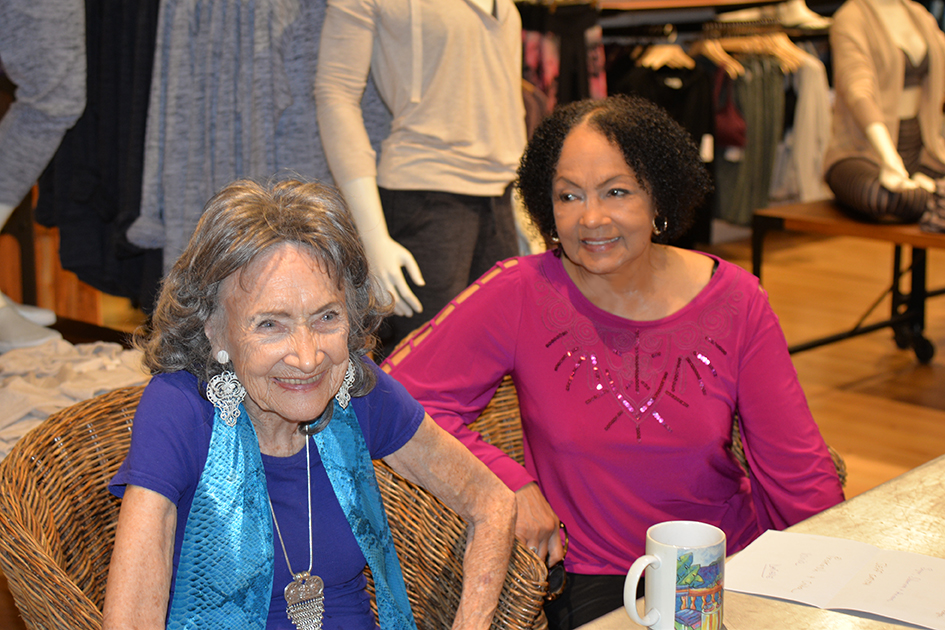97-year-old yoga master Tao Porchon-Lynch and Janie Sykes-Kennedy at Dancing Light book launch event at Athleta store in Scarsdale, September 17, 2015