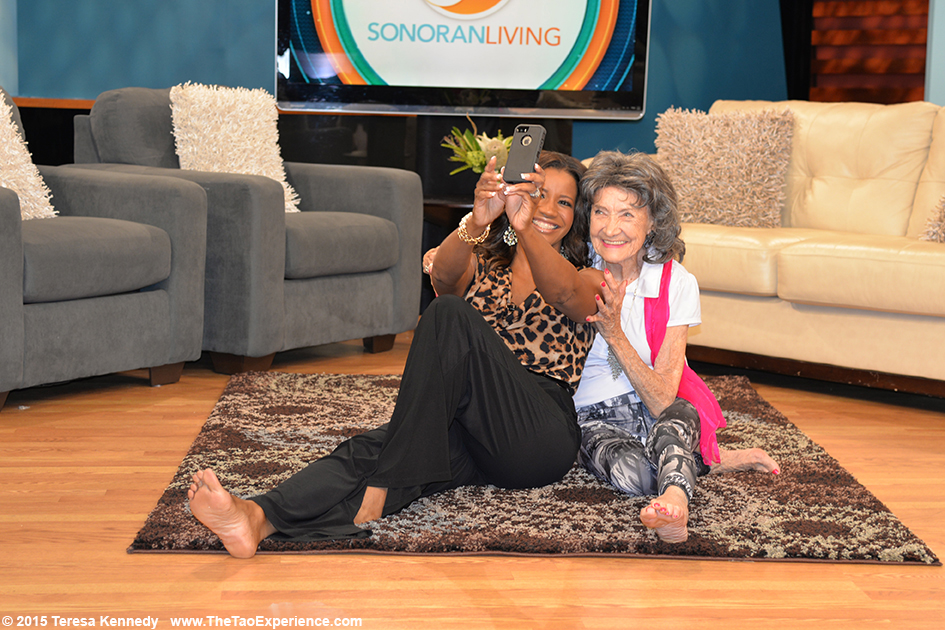 Susan Casper and 97-year-old Tao Porchon-Lynch on the set of Sonaran Living Live ABC15, September 25th, 2015