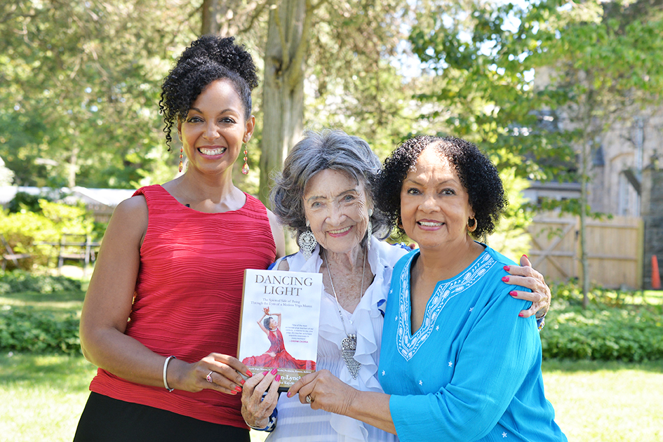 Teresa Kay-Aba Kennedy, Tao Porchon-Lynch, Janie Sykes-Kennedy with Dancing Light book they co-authored