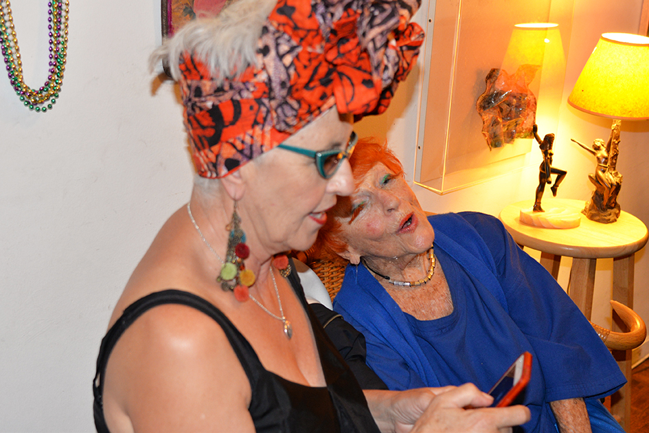 95-year-old Artist Ilona Royce-Smithkin holding court at party, October 24, 2015