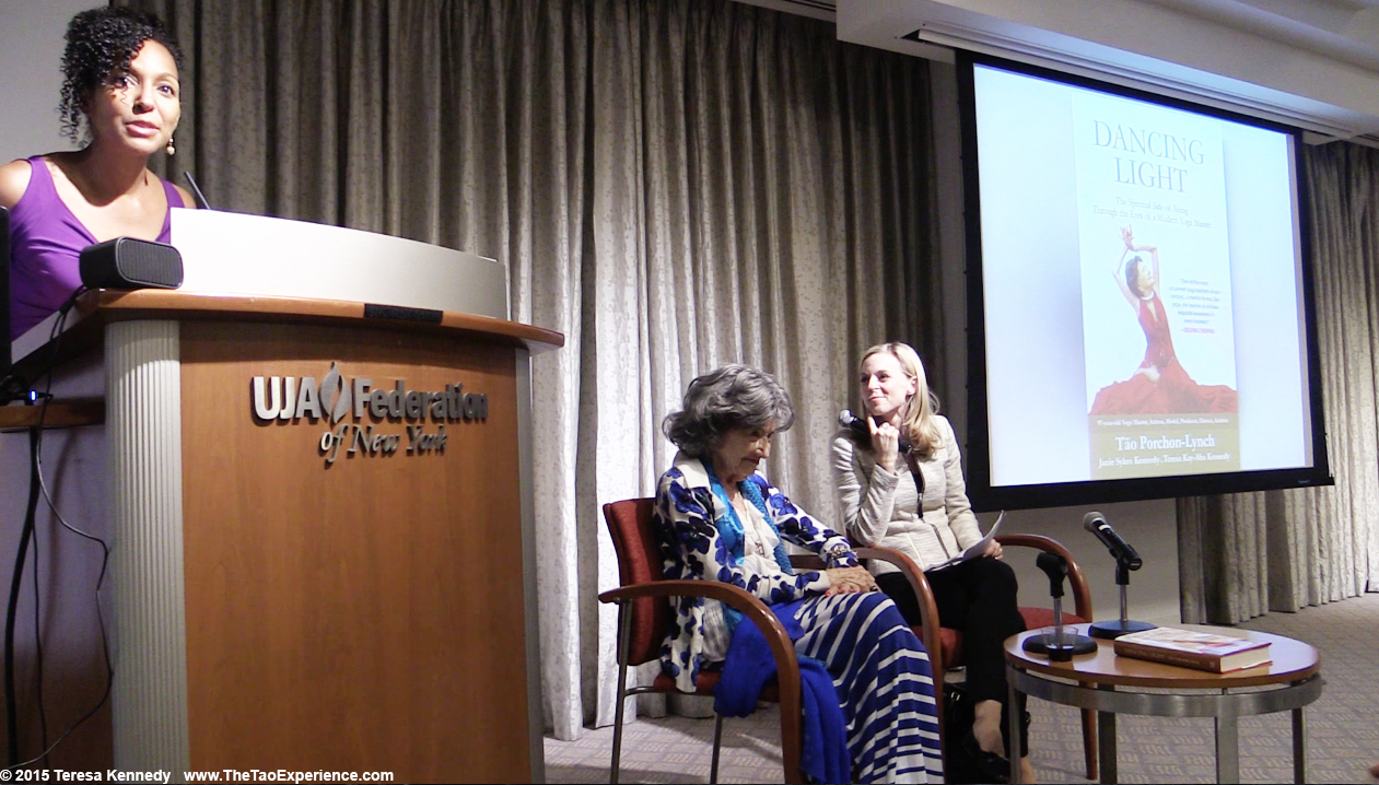Teresa Kay-Aba Kennedy introducing 97-year-old yoga master Tao Porchon-Lynch with CNBC's Courtney Reagan at Harvard Business School Club event at UJA Federation in NY, September 30, 2015