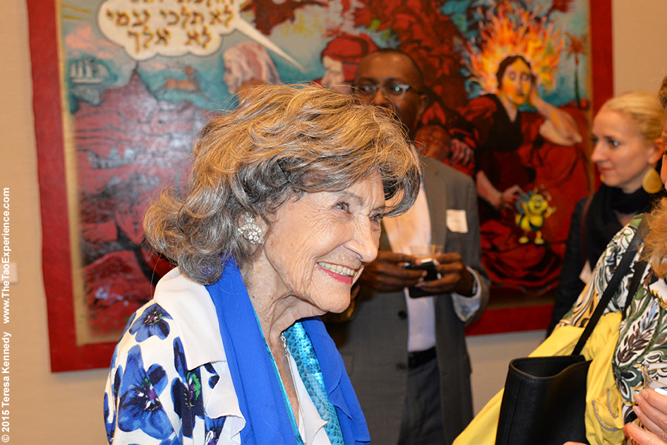 97-year-old yoga master Tao Porchon-Lynch speaking at Harvard Business School Club event at UJA Federation in NY, September 30, 2015