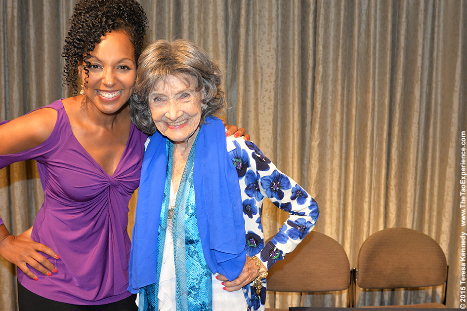 Teresa Kay-Aba Kennedy and 97-year-old yoga master Tao Porchon-Lynch at Harvard Business School Club event at UJA Federation in NY, September 30, 2015