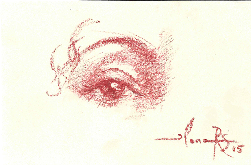 Eye of Teresa Kay-Aba Kennedy drawn by 95-year-old Artist Ilona Royce-Smithkin, October 24, 2015