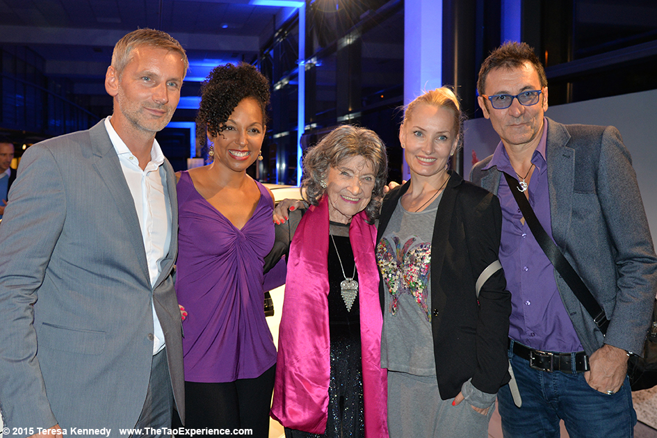 97-year-old yoga master Tao Porchon-Lynch with Matej Cer, Teresa Kay-Aba Kennedy and guests at the Conversation with a Master event hosted by the Young Executives Society (YES) and Mercedes in Slovenia, October 8, 2015