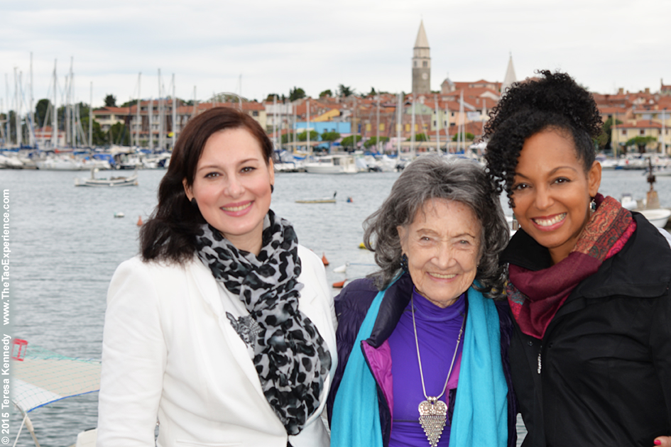97-year-old yoga master Tao Porchon-Lynch with Breda Bozic and Teresa Kay-Aba Kennedy in Slovenia, October 8, 2015