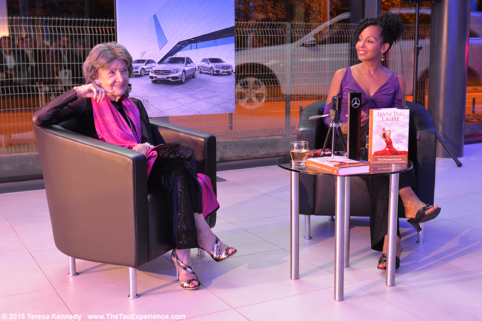 97-year-old yoga master Tao Porchon-Lynch with Teresa Kay-Aba Kennedy presenting at Conversation with a Master event hosted by the Young Executives Society (YES) and Mercedes in Slovenia, October 8, 2015