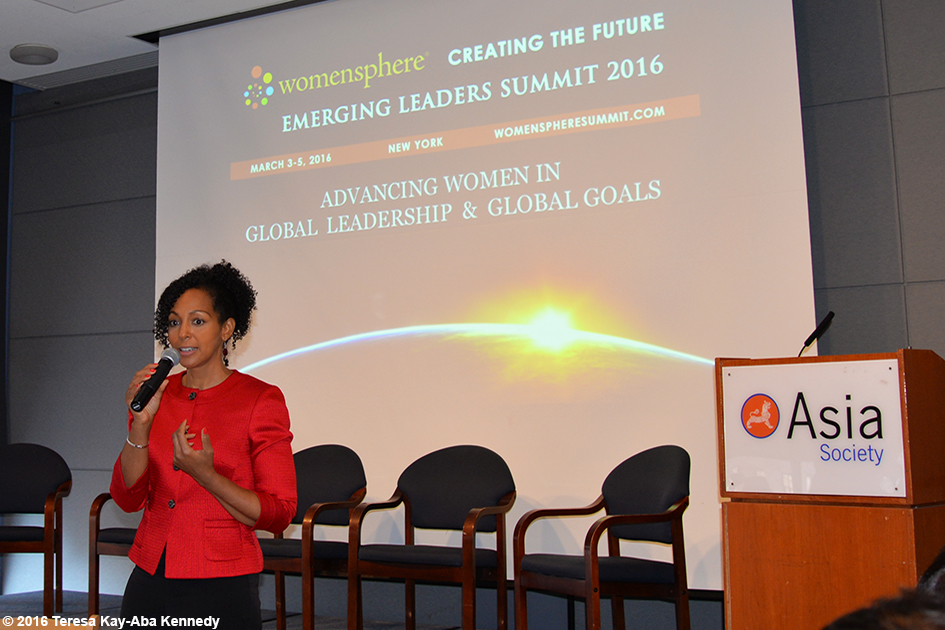 Teresa Kay-Aba Kennedy speaking at the Womensphere Global Summit in New York - March 4, 2016