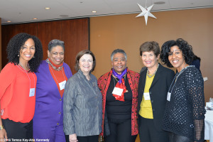 Teresa Kay-Aba Kennedy, Pamm McNeil, President Kim Bottomly, Sonia Robena Banks at Wellesley College - April 9, 2016
