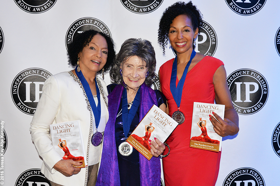 Dancing Light Co-Authors Janie Sykes Kennedy, Tao Porchon-Lynch and Teresa Kay-Aba Kennedy receiving IPPY Award in Chicago - May 10, 2016
