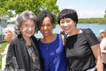 97-year-old yoga master Tao Porchon-Lynch with Teresa Kay-Aba Kennedy and Regina at Wainwright House Luncheon in Rye, New York - May 19, 2016