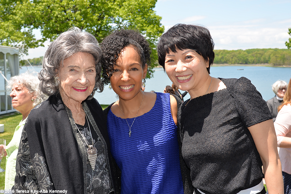 97-year-old yoga master Tao Porchon-Lynch with Teresa Kay-Aba Kennedy and Regina at Wainwright House Luncheon in Rye, New York - May 19, 2016