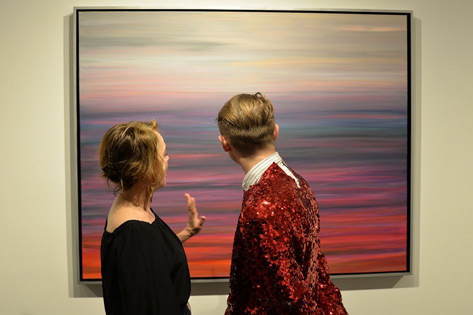 Gay Gaddis with art lover at The Curator Gallery, May 3, 2016