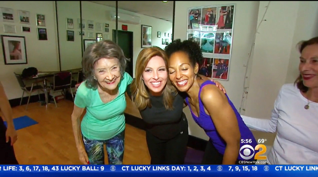 97-year-old yoga master Tao Porchon-Lynch, CBS2's Mary Calvi and Teresa Kay-Aba Kennedy